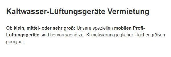 Kaltwasser Lueftungsgeraete Vermietung aus  Deutschland