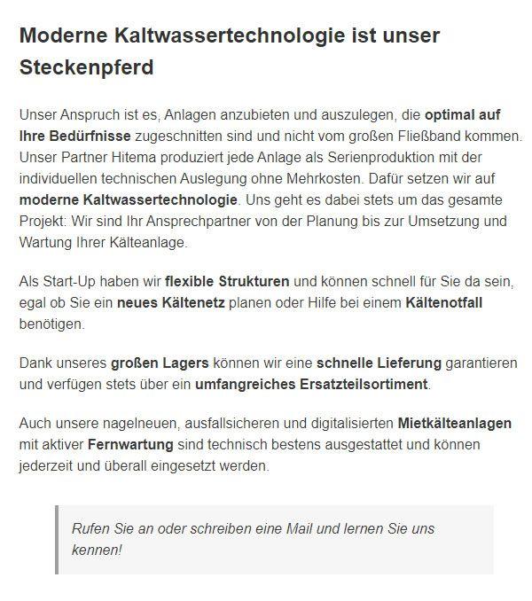 Kaltwassersatz in  Deutschland