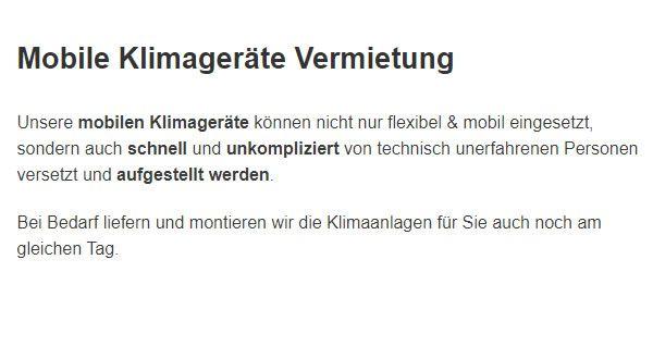 mobile Klimageraete mieten